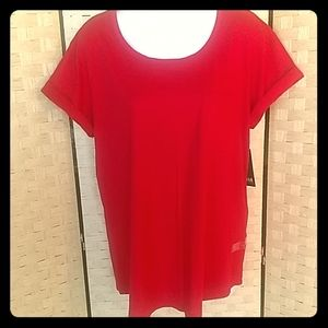Womens New a.n.a. Basic Red T-shirt Size L